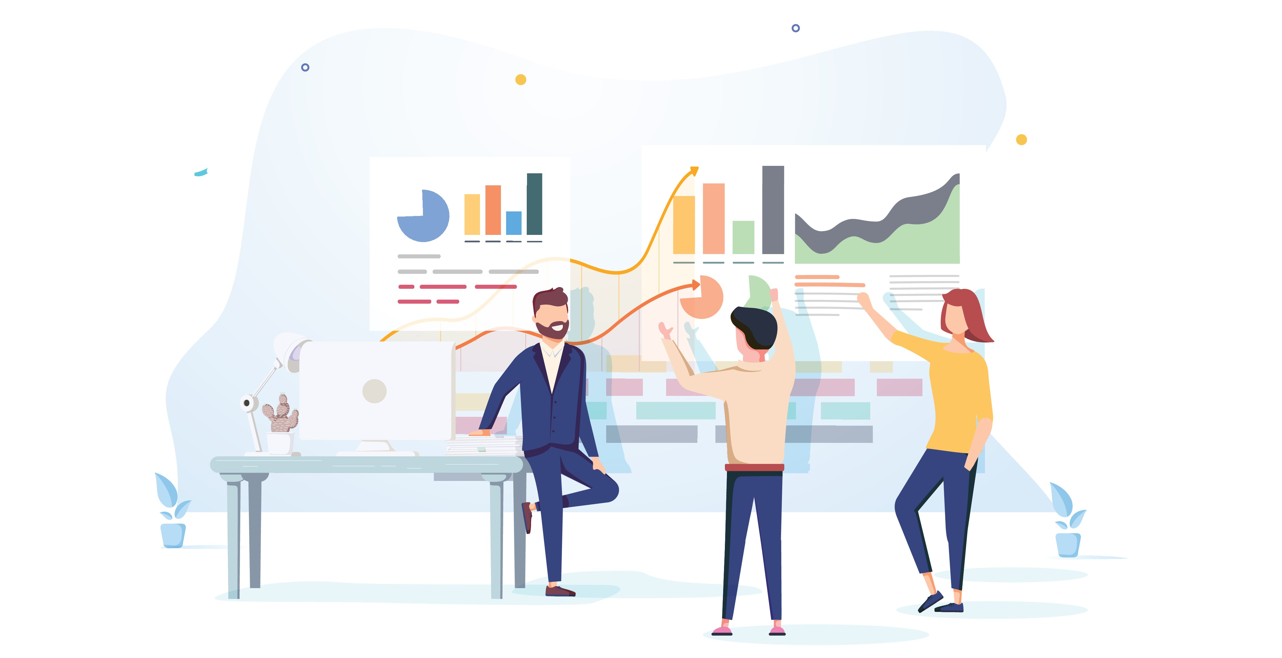 People interacting with charts and analyzing statistics. Data visualization concept. 3d vector illustration. People work